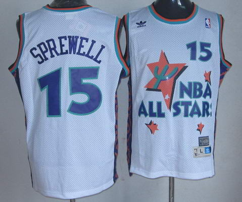 NBA 1995 All-Star #15 Latrell Sprewell White Hardwood Classics Soul Swingman Throwback Jersey