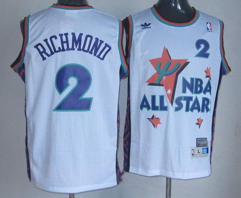 NBA 1995 All-Star #2 Mitch Richmond White Hardwood Classics Soul Swingman Throwback Jersey