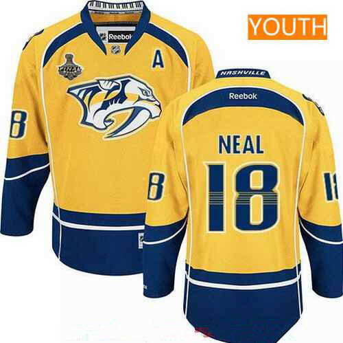 Youth Nashville Predators #18 James Neal Yellow A Patch 2017 Stanley Cup Finals Stitched NHL Jersey