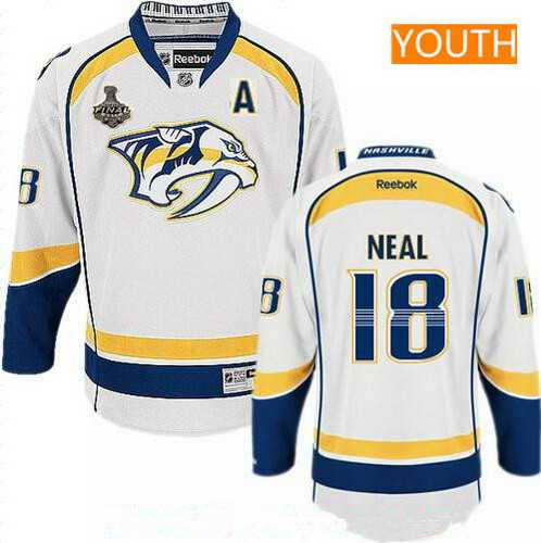 Youth Nashville Predators #18 James Neal White A Patch 2017 Stanley Cup Finals Stitched NHL Jersey