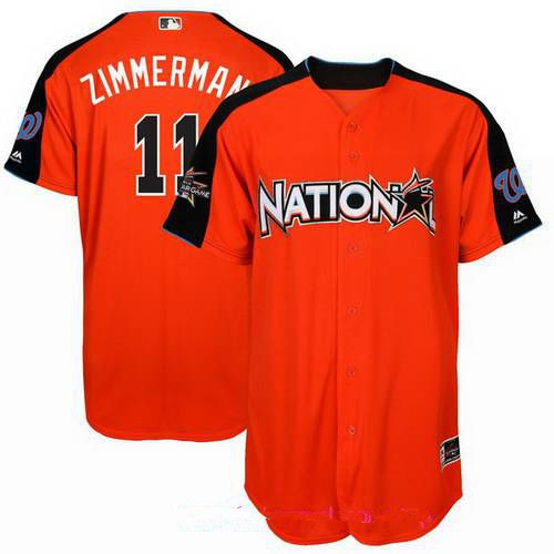 Men's Washington Nationals #11 Ryan Zimmerman National League Majestic Orange 2017 MLB All-Star Game Authentic Home Run Derby Jersey