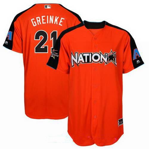 Men's Arizona Diamondbacks #21 Zack Greinke National League Majestic Orange 2017 MLB All-Star Game Authentic Home Run Derby Jersey