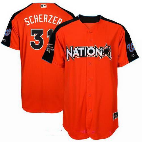 Men's Washington Nationals #31 Max Scherzer National League Majestic Orange 2017 MLB All-Star Game Authentic Home Run Derby Jersey