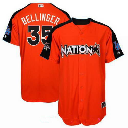 Men's Los Angeles Dodgers #35 Cody Bellinger National League Majestic Orange 2017 MLB All-Star Game Authentic Home Run Derby Jersey