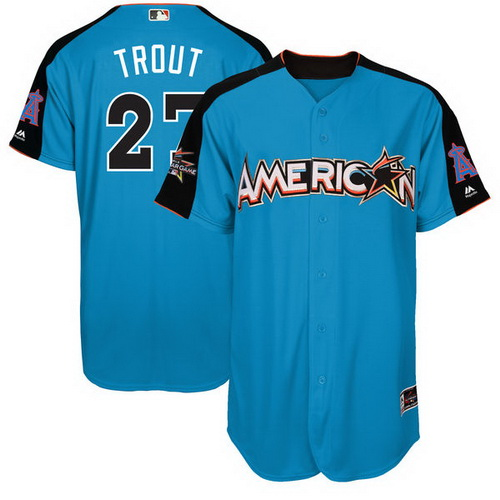 Men's Angeles Angels Of Anaheim #27 Mike Trout American League Majestic Blue 2017 MLB All-Star Game Authentic Home Run Derby Jersey