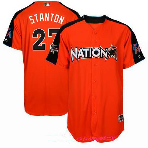 Men's Miami Marlins #27 Giancarlo Stanton National League Majestic Orange 2017 MLB All-Star Game Authentic Home Run Derby Jersey