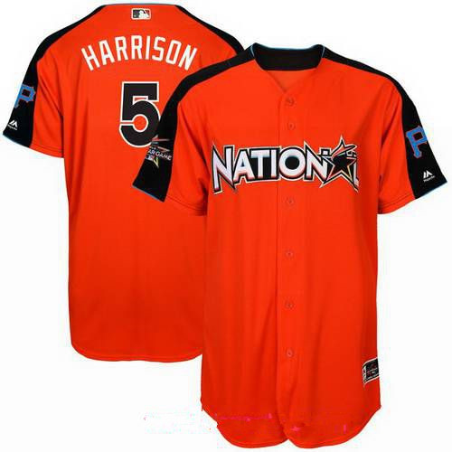 Men's Pittsburgh Pirates #5 Josh Harrison National League Majestic Orange 2017 MLB All-Star Game Authentic Home Run Derby Jersey
