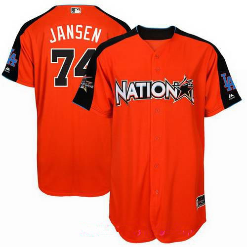 Men's Los Angeles Dodgers #74 Kenley Jansen National League Majestic Orange 2017 MLB All-Star Game Authentic Home Run Derby Jersey