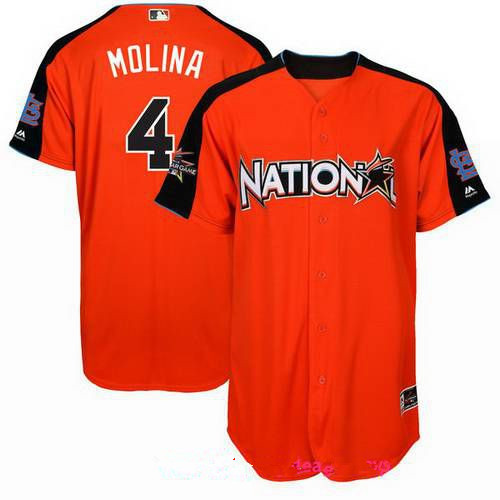 Men's St. Louis Cardinals #4 Yadier Molina National League Majestic Orange 2017 MLB All-Star Game Authentic Home Run Derby Jersey
