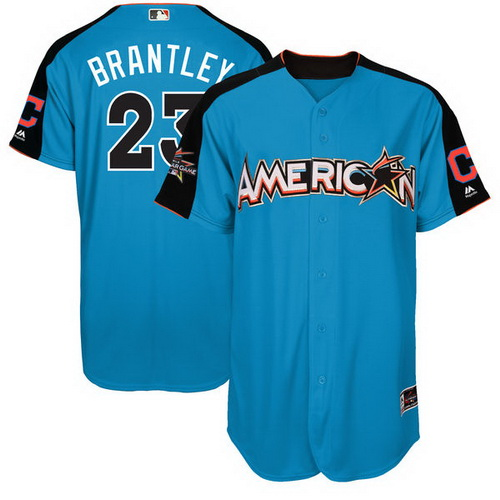 Men's Cleveland Indians #23 Michael Brantley American League Majestic Blue 2017 MLB All-Star Game Authentic Home Run Derby Jersey