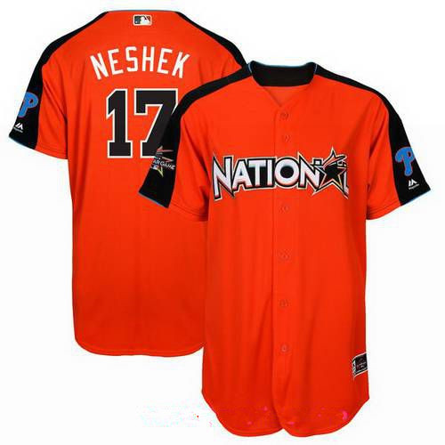Men's Philadelphia Phillies #17 Pat Neshek National League Majestic Orange 2017 MLB All-Star Game Authentic Home Run Derby Jersey
