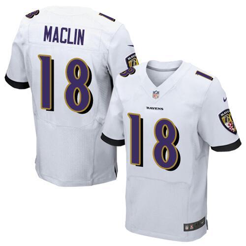 Men's Stitched Baltimore Ravens #18 Jeremy Maclin White Nike NFL Elite Jersey