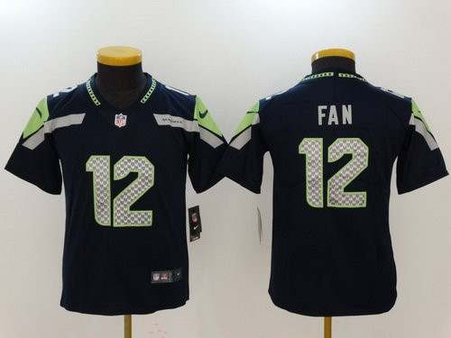 Youth Seattle Seahawks #12 12th Fan Navy Blue 2017 Vapor Untouchable NFL Nike Limited Stitched Jersey