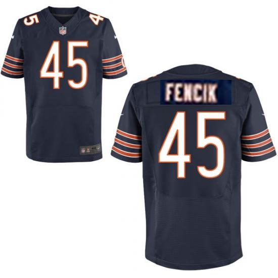Men's Chicago Bears #45 Gary Fencik Navy Blue Team Color NFL Nike Stitched Elite Jersey