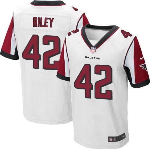 Men's Nike Atlanta Falcons #42 Duke Riley White Stitched NFL Elite Jersey