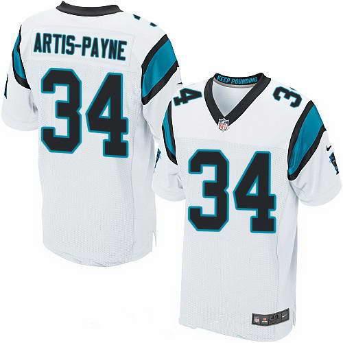 Men's Nike Carolina Panthers #34 Cameron Artis-Payne White Stitched NFL Elite Jersey