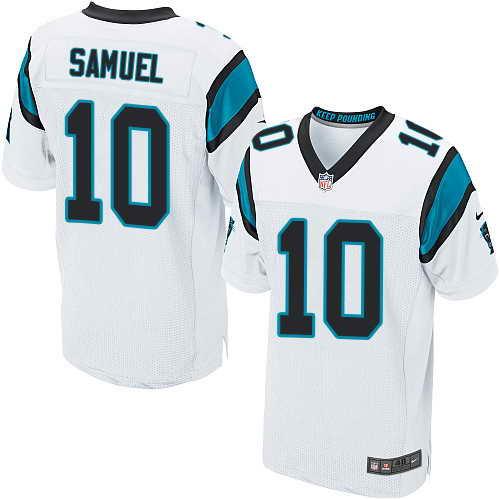 Men's Nike Carolina Panthers #10 Curtis Samuel White Stitched NFL Elite Jersey