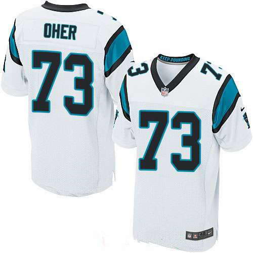 Men's Nike Carolina Panthers #73 Michael Oher White Stitched NFL Elite Jersey