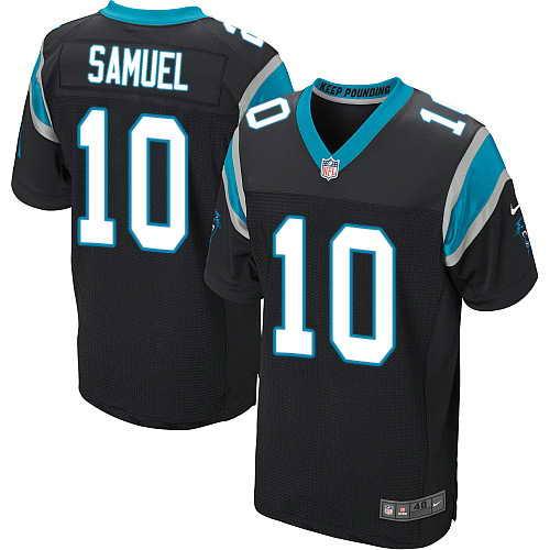 Men's Nike Carolina Panthers #10 Curtis Samuel Black Team Color Stitched NFL Elite Jersey