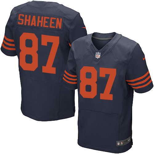 Men's Nike Chicago Bears #87 Adam Shaheen Navy Blue Orange Name Stitched NFL Elite Jersey
