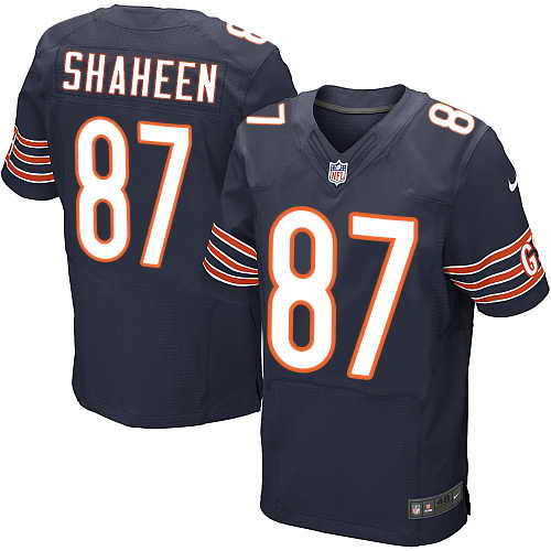 Men's Nike Chicago Bears #87 Adam Shaheen Navy Blue Team Color Stitched NFL Elite Jersey