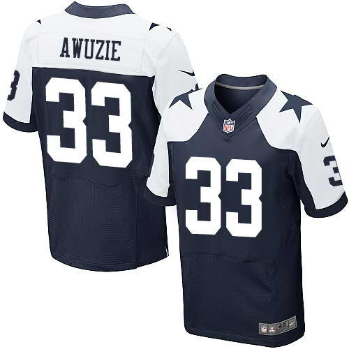 Men's Nike Dallas Cowboys #33 Chidobe Awuzie Thanksgiving Blue Stitched NFL Elite Jersey