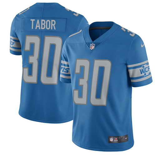 Men's Nike Detroit Lions #30 Teez Tabor Blue Team Color Stitched NFL Elite Jersey