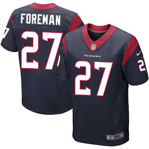 Men's Nike Houston Texans #27 D'Onta Foreman Blue Stitched NFL Elite Jersey
