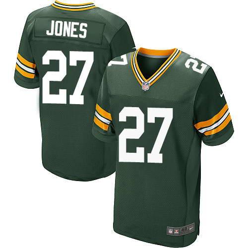 Men's Nike Green Bay Packers #27 Josh Jones Green Stitched NFL Elite Jersey