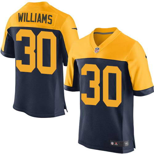 Men's Nike Green Bay Packers #30 Jamaal Williams Navy Blue Alternate Stitched NFL New Elite Jersey