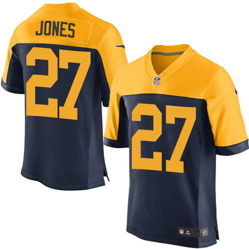 Men's Nike Green Bay Packers #27 Josh Jones Navy Blue Alternate Stitched NFL New Elite Jersey