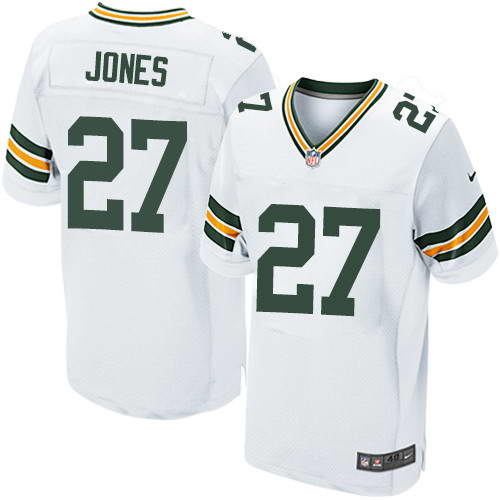 Men's Nike Green Bay Packers #27 Josh Jones White Stitched NFL Elite Jersey