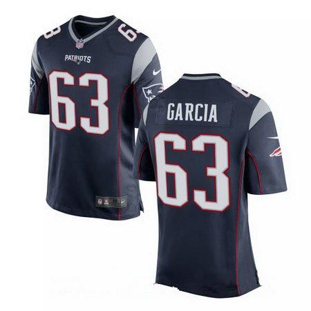 Men's Nike New England Patriots #63 Antonio Garcia Blue Stitched NFL Elite Jersey