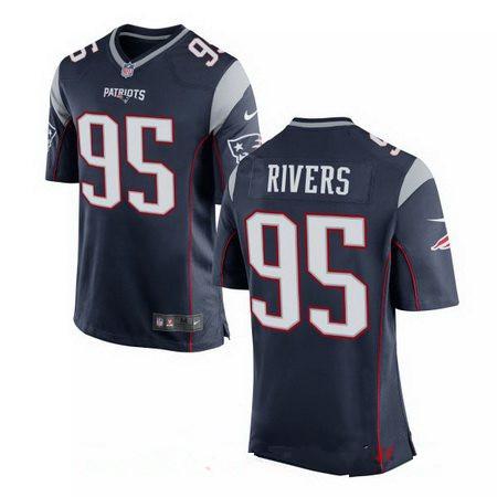 Men's Nike New England Patriots #95 Derek Rivers Navy Blue Team Color Stitched NFL Elite Jersey