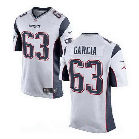 Men's Nike New England Patriots #63 Antonio Garcia White Stitched NFL Elite Jersey