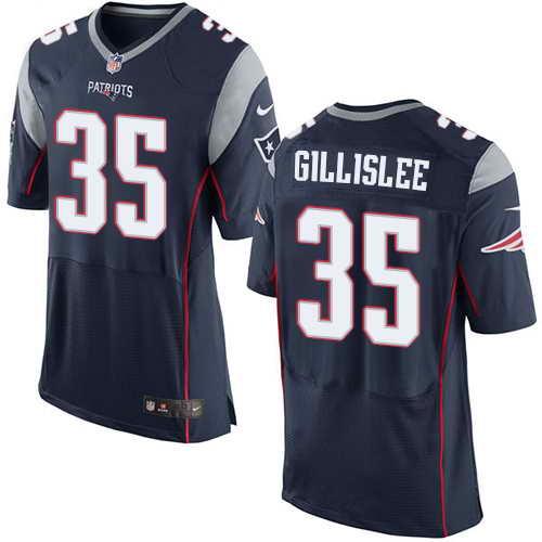 Men's Nike New England Patriots #35 Mike Gillislee Navy Blue Team Color Stitched NFL Elite Jersey