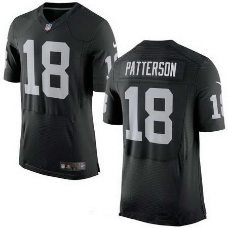 Men's Nike Oakland Raiders #18 Cordarrelle Patterson Black Team Color Stitched NFL New Elite Jersey