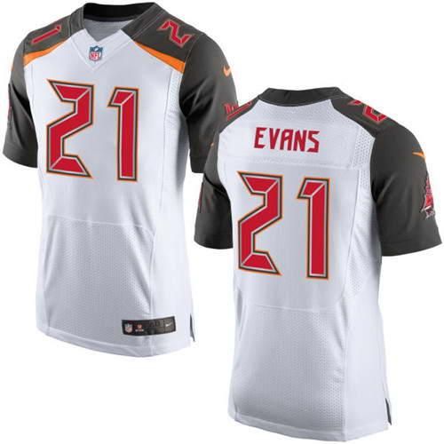 Men's Nike Tampa Bay Buccaneers #21 Justin Evans White Stitched NFL New Elite Jersey