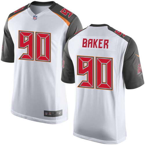 Nike Men's Tampa Bay Buccaneers #90 Chris Baker White Road NFL Elite Jersey