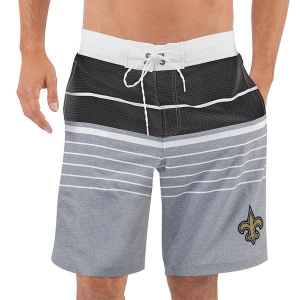 Men's New Orleans Saints G-III Sports by Carl Banks Heathered GrayBlack Balance Quick Dry Swim Trunks