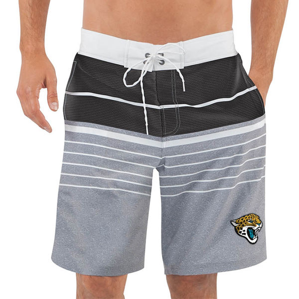 Men's Jacksonville Jaguars G-III Sports by Carl Banks Heathered GrayBlack Balance Quick Dry Swim Trunks