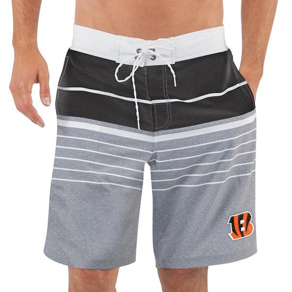 Men's Cincinnati Bengals G-III Sports by Carl Banks Heathered GrayBlack Balance Quick Dry Swim Trunks