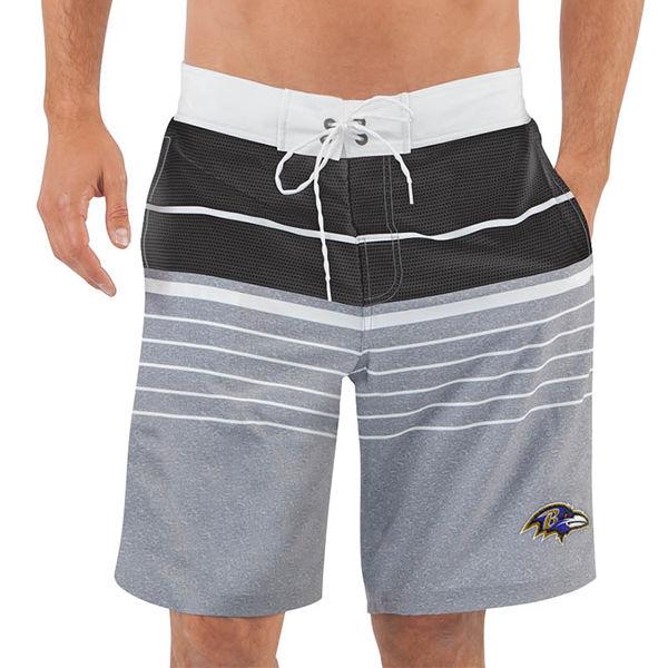 Men's Baltimore Ravens G-III Sports by Carl Banks Heathered GrayBlack Balance Quick Dry Swim Trunks