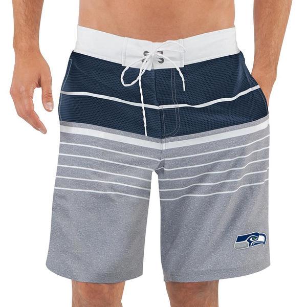 Men's Seattle Seahawks G-III Sports by Carl Banks Heathered GrayCollege Navy Balance Quick Dry Swim Trunks