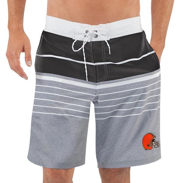 Men's Cleveland Browns G-III Sports by Carl Banks Heathered GrayBlack Balance Quick Dry Swim Trunks