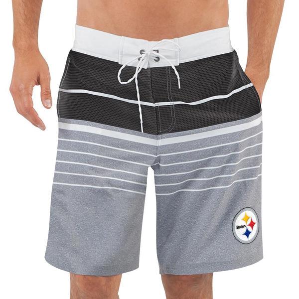 Men's Pittsburgh Steelers G-III Sports by Carl Banks Heathered GrayBlack Balance Quick Dry Swim Trunks