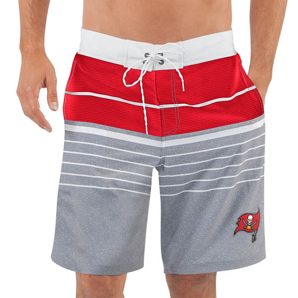 Men's Tampa Bay Buccaneers G-III Sports by Carl Banks Heathered GrayRed Balance Quick Dry Swim Trunks