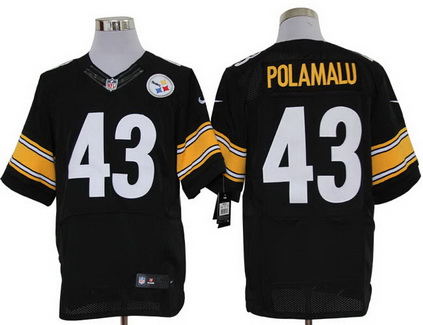 Size 60 4XL Pittsburgh Steelers Troy Polamalu #43 Black Stitched Nike Elite NFL Jersey