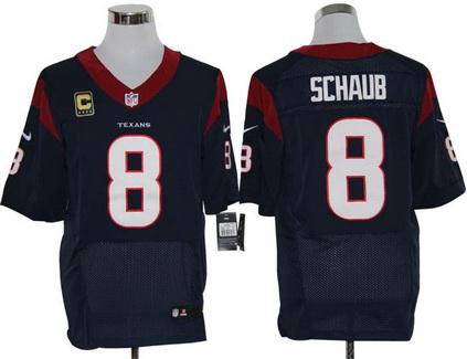 Size 60 4XL Houston Texans #8 Matt Schaub Patch C Navy Blue Stitched Nike Elite Jersey