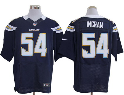 Size 60 4XL San Diego Chargers #54 Melvin Ingram Dark Blue Stitched Nike Elite Jersey